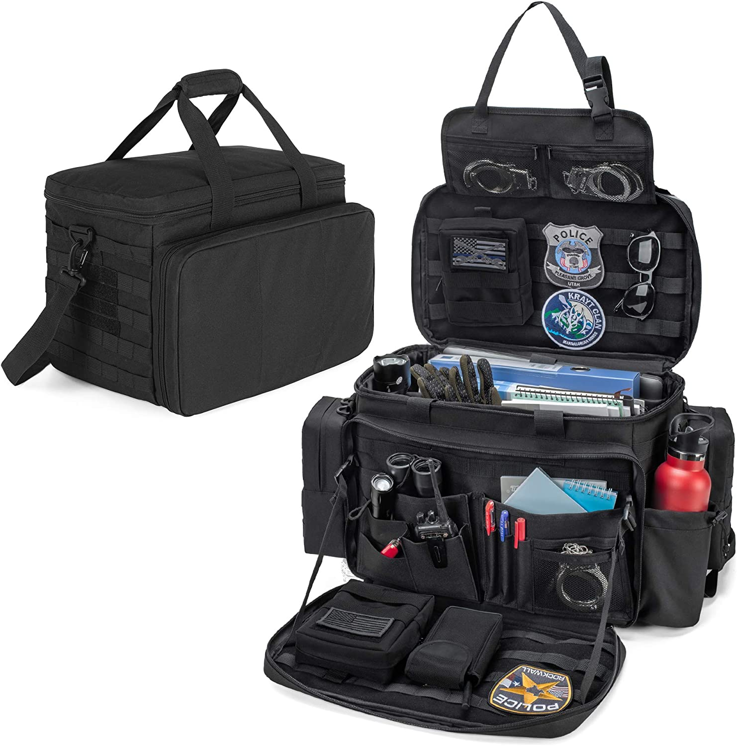 """Trunab Patrol Bag, Police Gear Bag, Car Front Seat Organizer for Law Enforcement with Compartment for up to 15.6"""" Laptop, Drinks Holder, MOLLE Compatible, Fits Vehicle Passenger Seat, Black"""