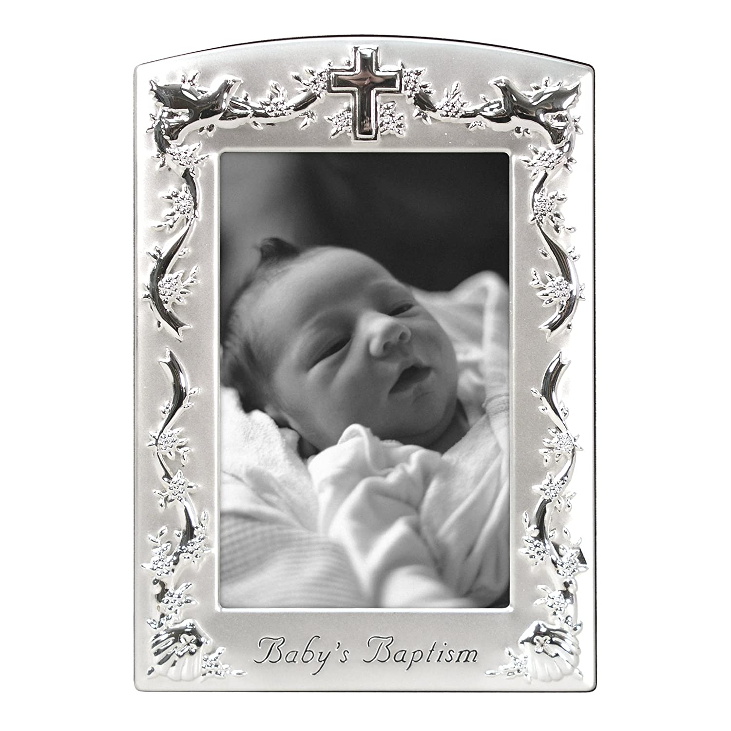 Malden Baby Baptism Two-Tone Picture Frame, Pewter 6901-46