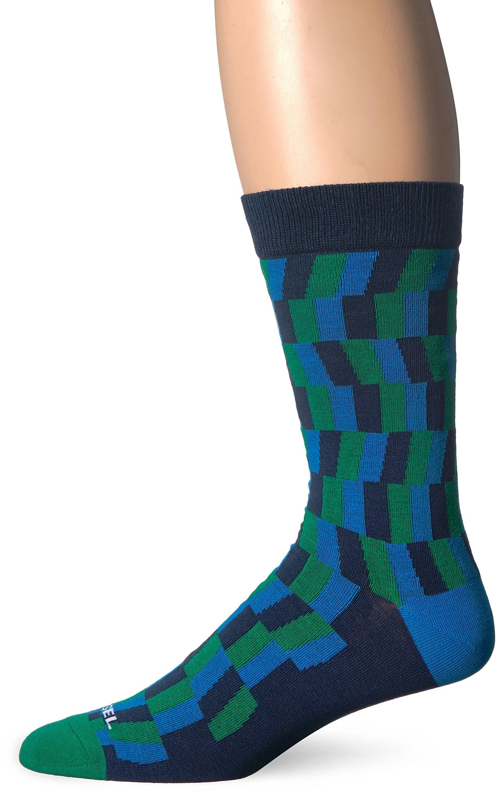 Diesel Men's Ray Printed Socks, Blue Geo, Small