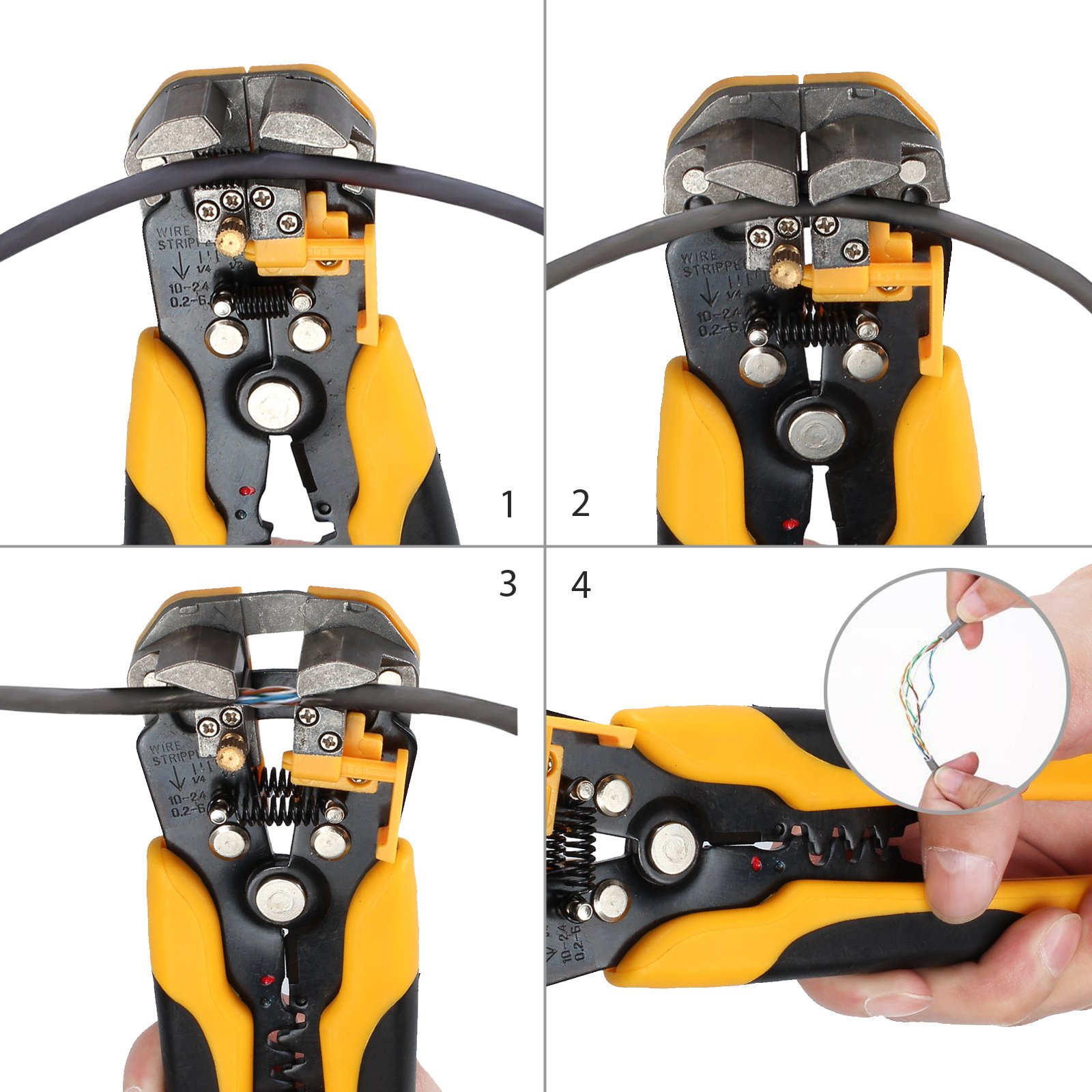 Proxima Direct Cable Crimper Wire Stripping Plier Tool Set Automatic Wire Stripper Crimper Cutter Cable Stripping Cutting Crimping Multifunctional Pliers 0.2-6 mm ² by Proxima Direct (Image #4)