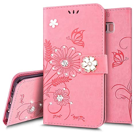 Funda iPhone 8 Plus,Carcasa iPhone 7 Plus Rosa PU,Flor ...
