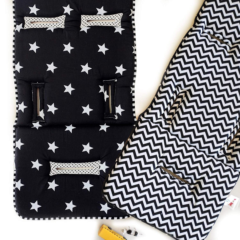 Universal Reversible Stroller Liner, Super Comfy Baby Stroller pad, pram Liner, Reversible Pram and Stroller Liner, Black & White Print