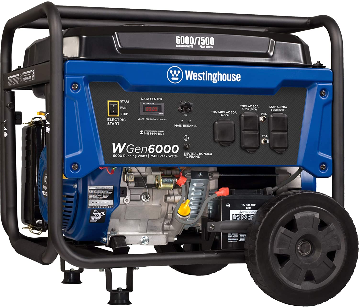 Westinghouse WGen6000 Portable Generator 6000 Rated & 7500 Peak Watts,