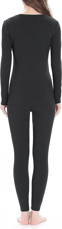 Midweight Cotton Long Underwear Fleece Long John Base Layer Set Genuwin Thermal Underwear for Women