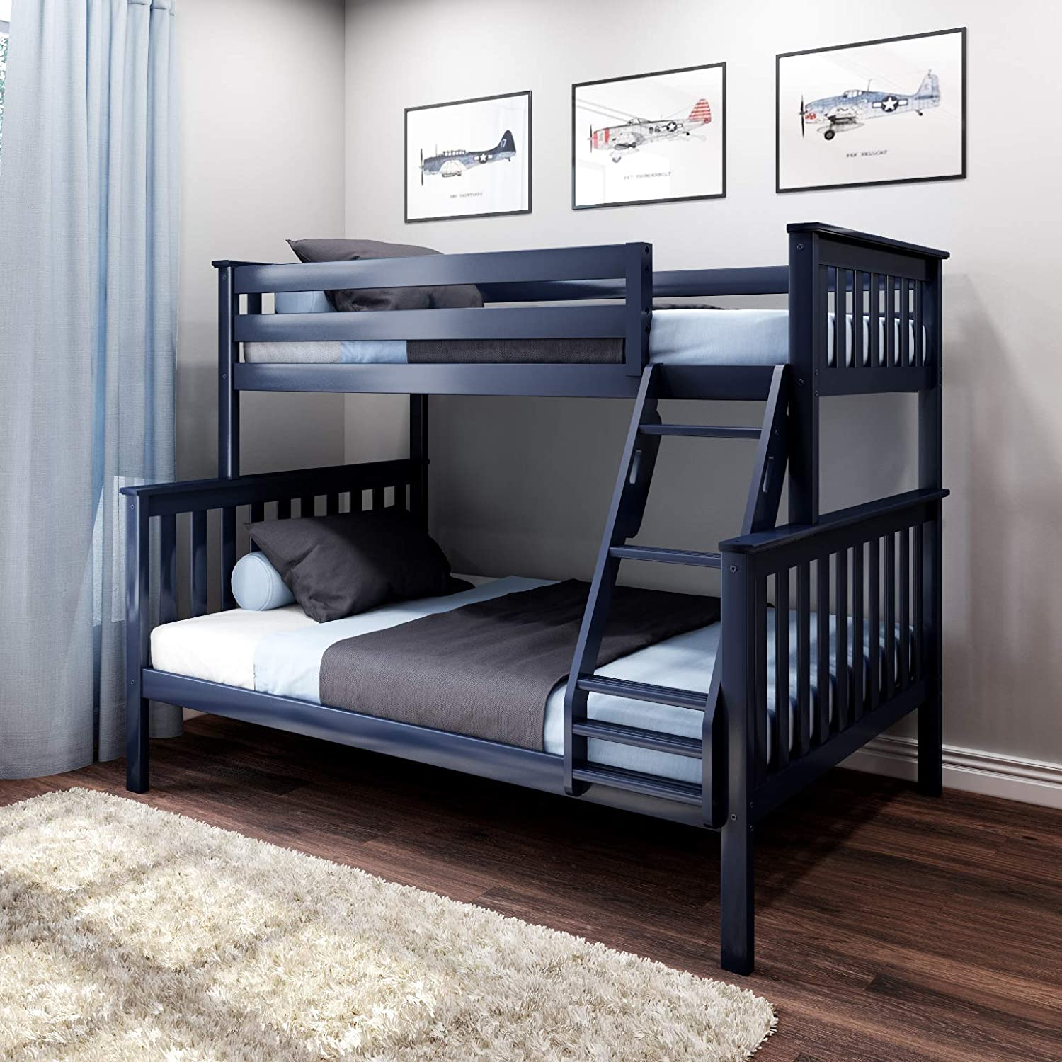Max & Lily Solid Wood Twin Over Full Bunk Bed, Blue