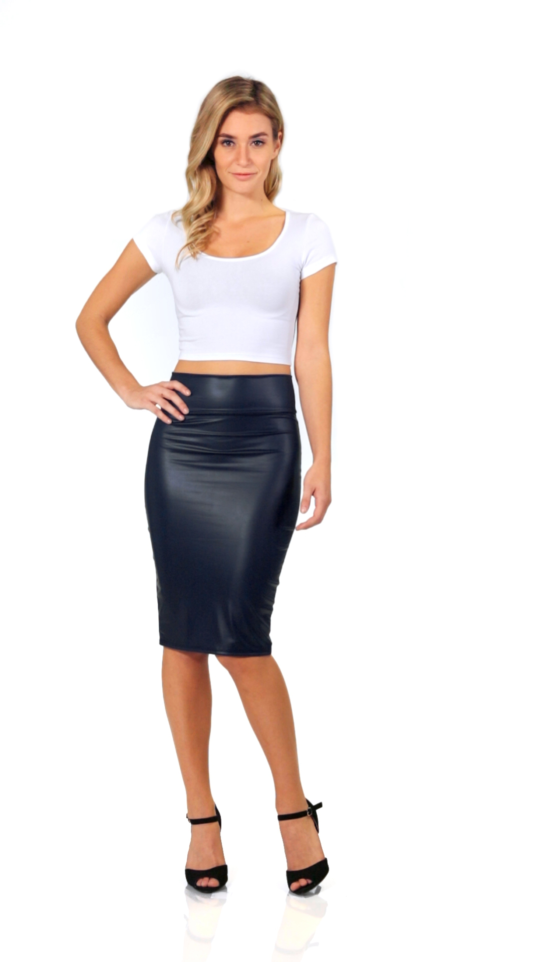 7123deb215 Faux Leather Pencil Skirt Below Knee Length Skirt Midi Bodycon Skirt ...