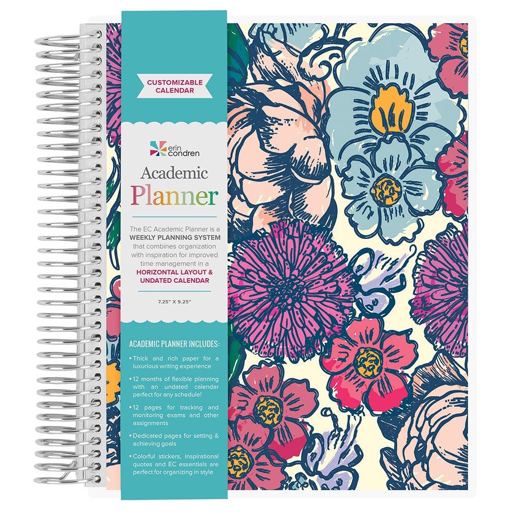 Erin Condren Non-Dated Academic Planner Floral Ink