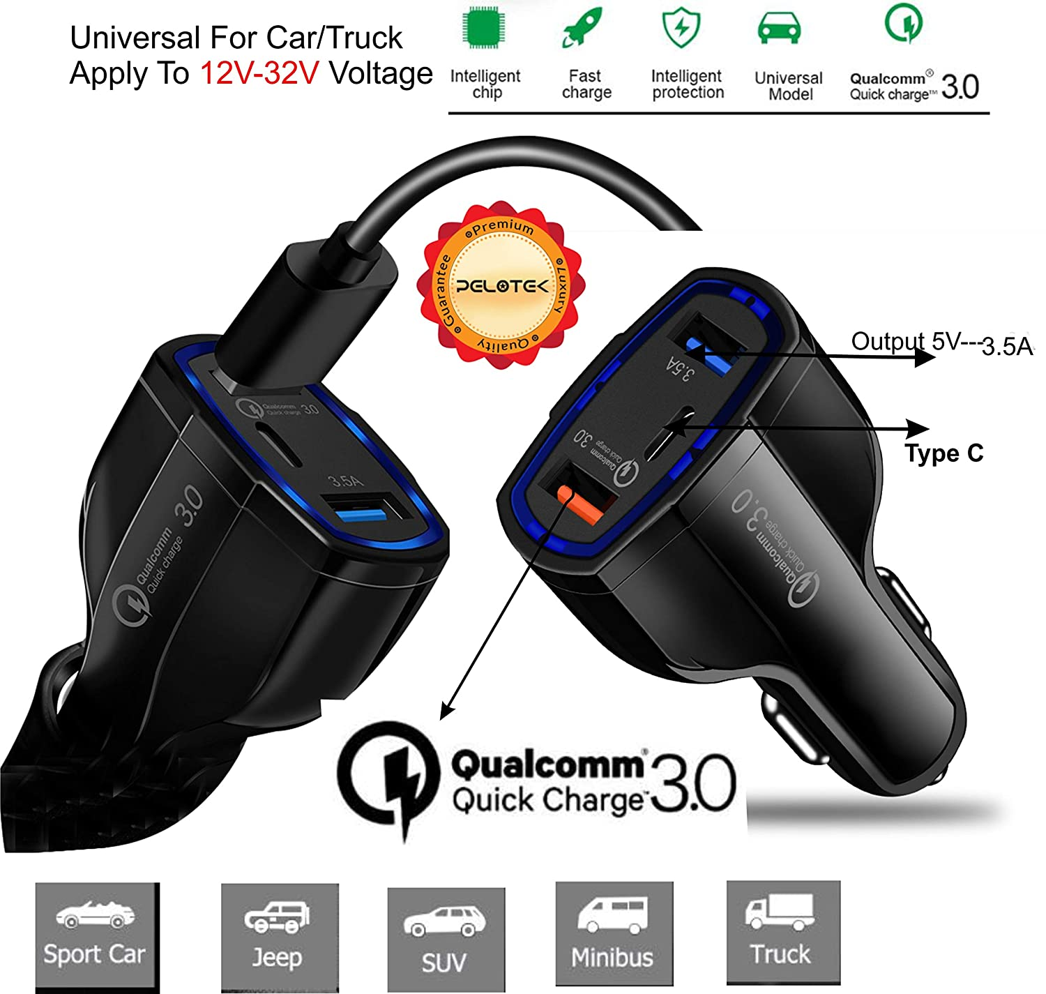 Amazon.com: Pelotek- Cargador de coche USB triple ultra ...