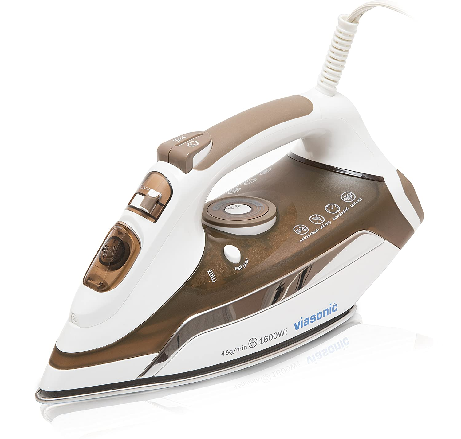 Viasonic Executive Steam Iron 1600W, Auto-Off - Anti-Drip & Self-Cleaning, Anti-Calcium, Vertical Steam, Stainless Steel Soleplate, XL 350ML Tank - Steam, Spray, Dry Functions - ETL Listed, by Unity