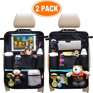 Kids Backseat Car Organizer Kick Mats Back Seat Car Protector with Multi Pocket Storage Bag Holder for Ipad Tablet Bottle Drink Vehicles Travel Accessories Black Pack of 2