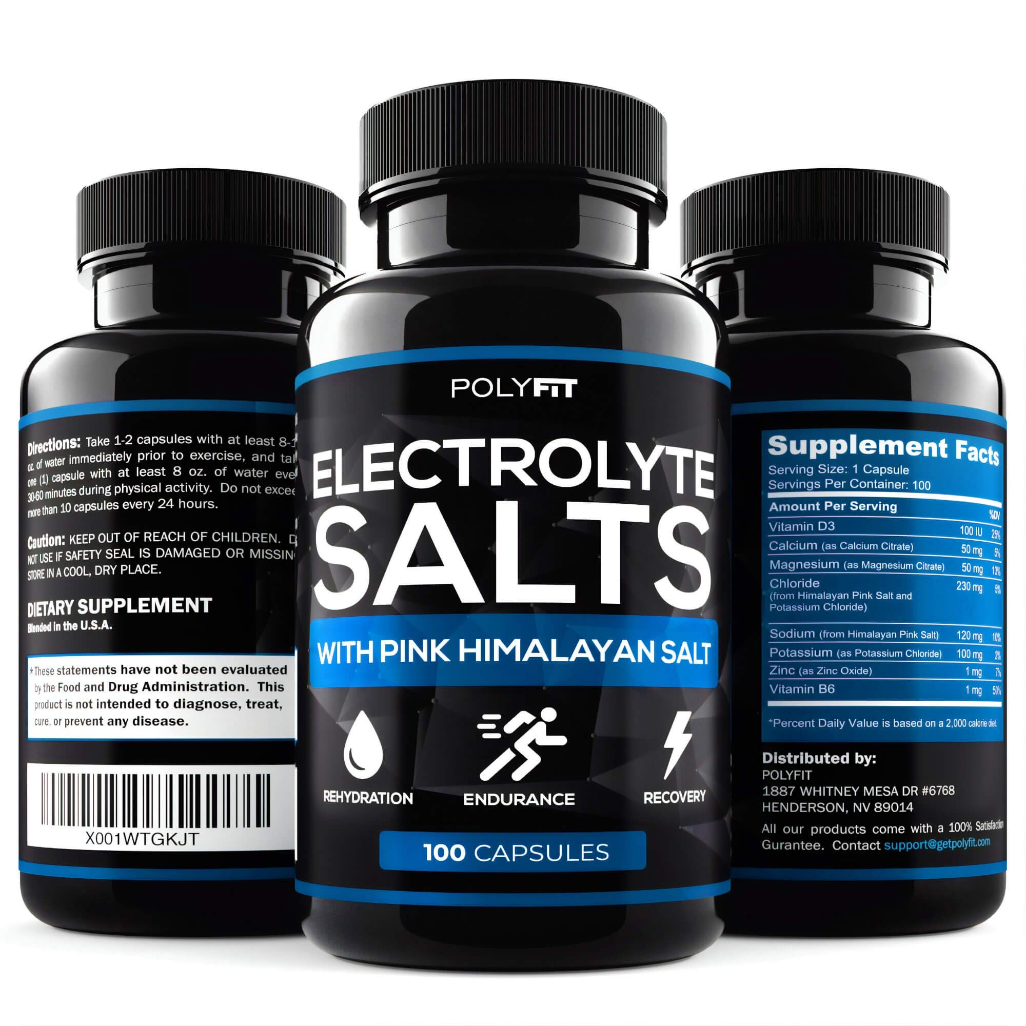 Electrolyte Salt Tablets - 100 Pills - Electrolytes Replacement Supplement for Rapid Hydration by Polyfit