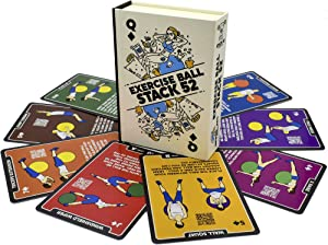 Stack 52 Exercise Ball Fitness Cards. Swiss Ball Workout Playing Card Game. Video Instructions Included. Bodyweight Training Program for Balance and Stability Balls.