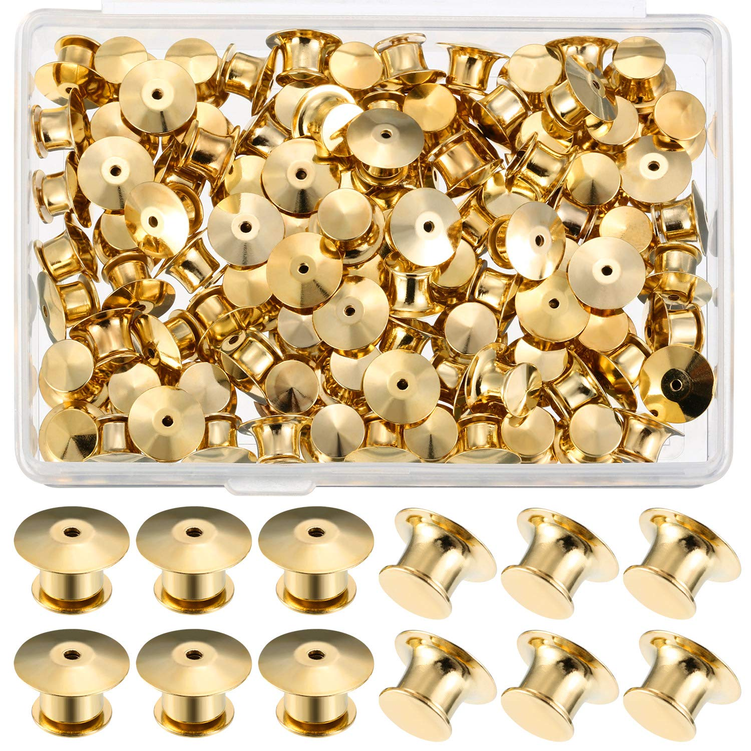 Mudder Locking Pin Keepers Backs, No Tool Required(Gold, 100 Pieces) by Mudder