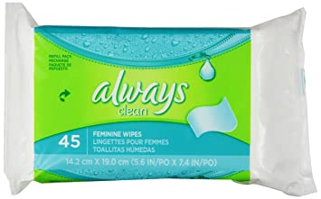 Always Wipes Refill, Lightly Scented, 45 Count