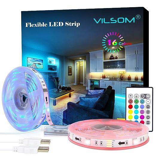 ViLSOM - Tira de luces LED con mando a distancia (USB de 19.7 pies ...