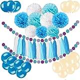 Newland 46 pezzi di carta di seta, ghirlanda di nappa palloni lattice le decorazioni del partito (Blu)