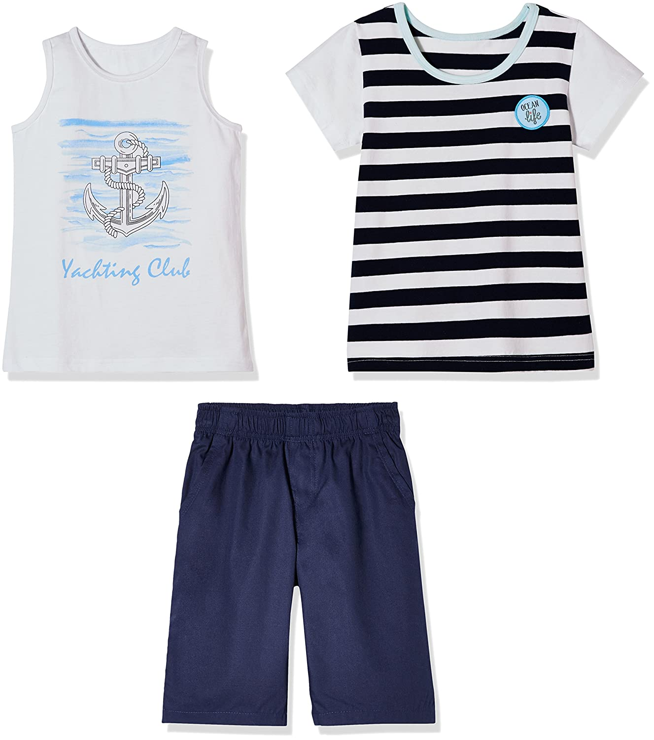 Classic Stripe Tee and Navy Leisure Shorts for Toddlers and Little Boy Sprout Star 3-Pcs Set Cotton Anchor Graphic Tank