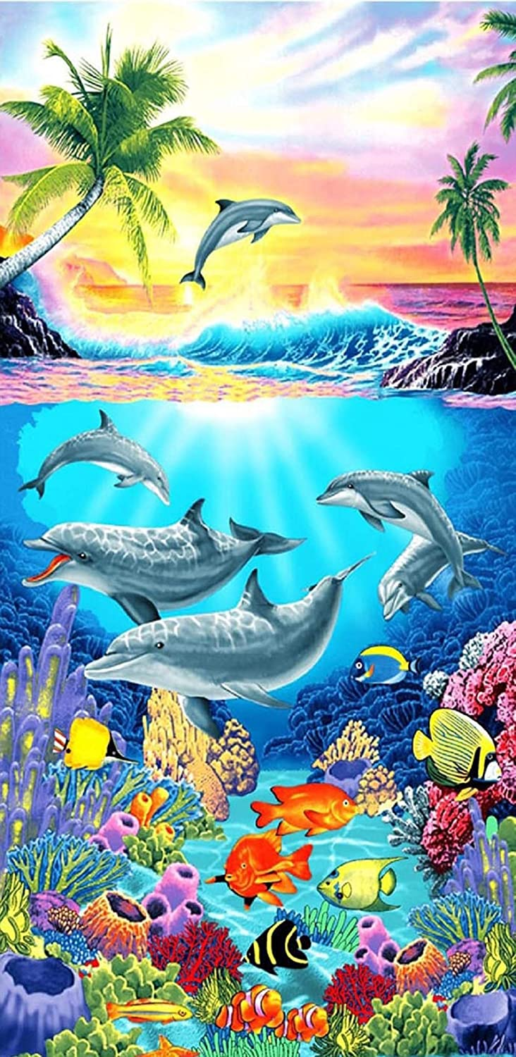 Beach Towels Dolphin Print Bath Towel Extra Large Microfibre for Adult Kids 75X150cm Great for Swim Travel Yoga Sports Camping Sunbed Cover YAXING