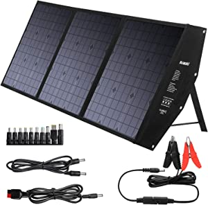 SUAOKI Foldable 120W Solar Panel Charger Compatible Jackery/Goal Zero Yeti/Enkeeo/Webetop/Paxcess/ROCKPALS Power Station with Quick Charge 3.0, 60W Power Delivery USB C for Home Camping