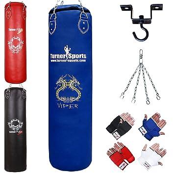 TurnerMAX Boxsack Boxen Set Ausbildung Kampfk/ünste Muay Thai Mit Stahlkette Innere Handschuhe,Stretch-Band und Deckenhaken