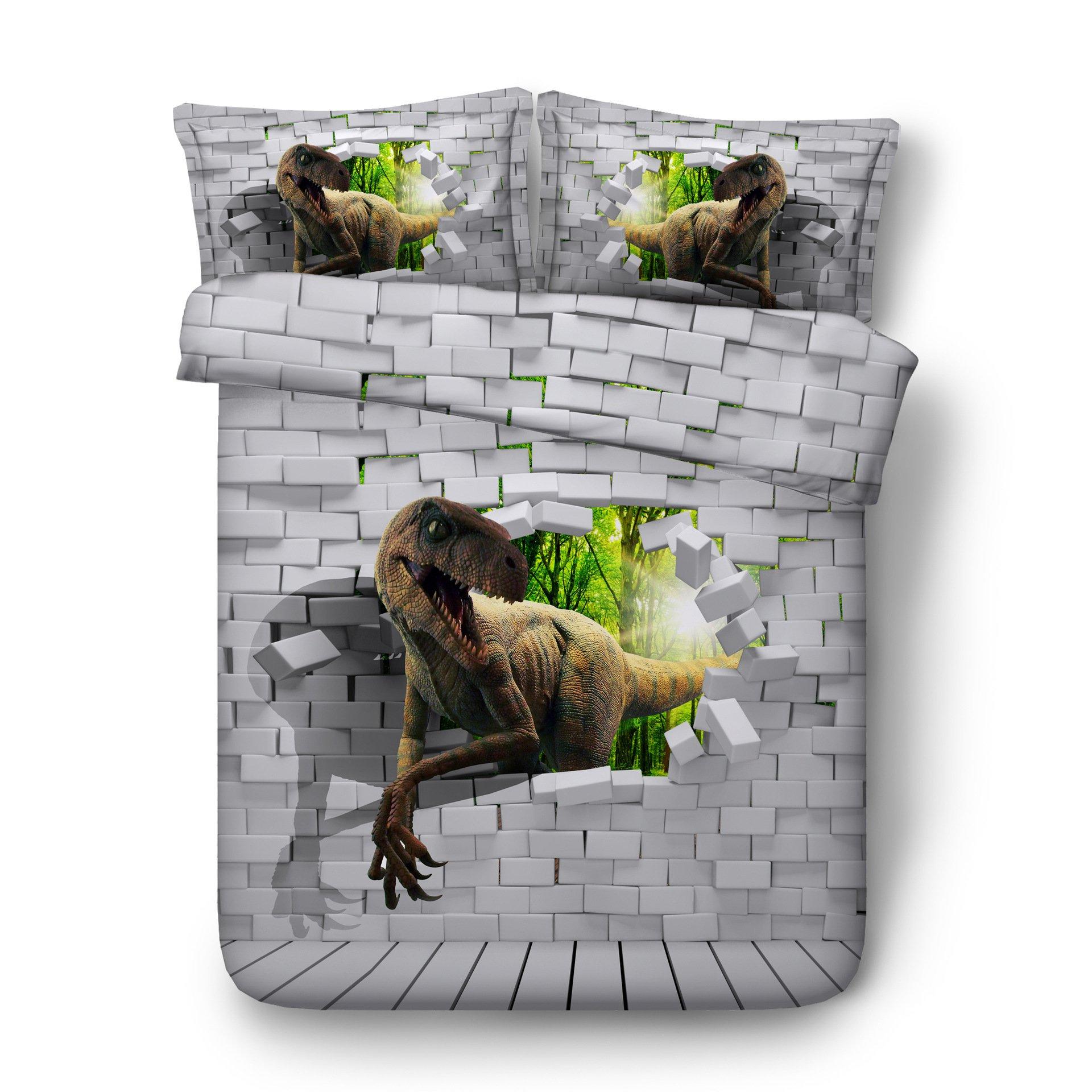 EsyDream Jurassic Period 3D Oil Dinosaur Men's Bedding Quilt Cover Twin King Queen Size Jurassic World Dinosaur Boys Bedding Duvet Bedlinen 3pc/Set No Quilt(Queen,Color 12)