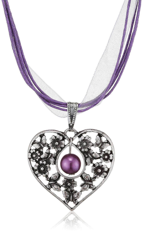 Lusana Damen Trachtenhalstuch Trachtenhalskette mit Herz Violett (Flieder 41) SL111