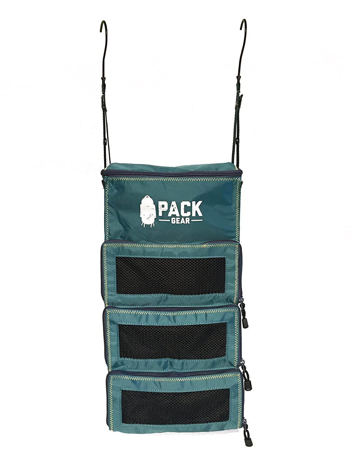 PACK Gear Hanging Backpack and Carry-On Organizer (with Zippers), Built In Hooks for Convenient Hanging, Holds More Than 4 Packing Cubes, Durable, Only 9oz. ZPACKTeal