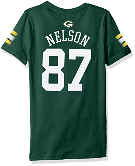 f25d146bc Image Unavailable. Image not available for. Color  NFL Girls 7-16 Jordy  Nelson Green Bay Packers Main Stripes V-Neck Player