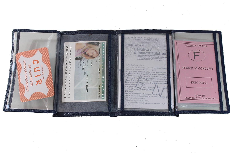 Lilosac - Porte Papier Voiture en Cuir - Format 4 Volets - étui Carte Grise, permis, Carte d'identité, Cartes, très Complet, Cuir Souple pour Homme ou Femme (Bleu foncé) Carte d' identité