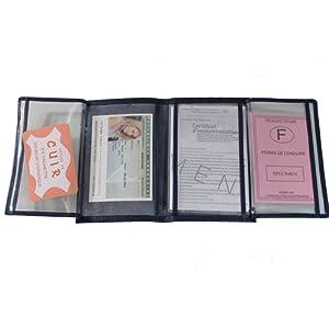 Lilosac® - Porte papier voiture en cuir - format 4 volets - étui carte grise, permis, carte d'identité, cartes, très complet, cuir souple pour homme ou femme