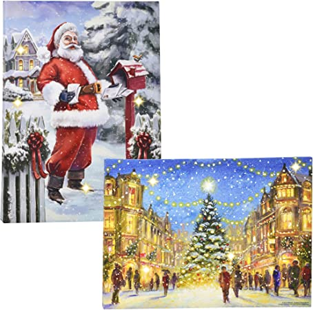 Amazon Com Christmas Lighted Led Canvas Wall Art Set Of 2 Led Fiber Optic Lights Winter Holiday City Scene Large 16 Prints Merry Christmas Santa Tree Designs With Battery Operated Light Pictures Gift