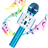 FISHOAKY Wireless Bluetooth Karaoke Microphone, 3 in 1 Portable Kids Karaoke Mic Player with colorful LED and Magic…