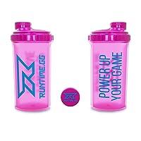 Runtime Eiweiß-Shaker   Sport-Flasche für Nutrition und Fitness   700ml Fassungsvermögen   mit Sieb - 100% dicht   BPA-frei - inkl. Messskala - transparent (Neon Pink)