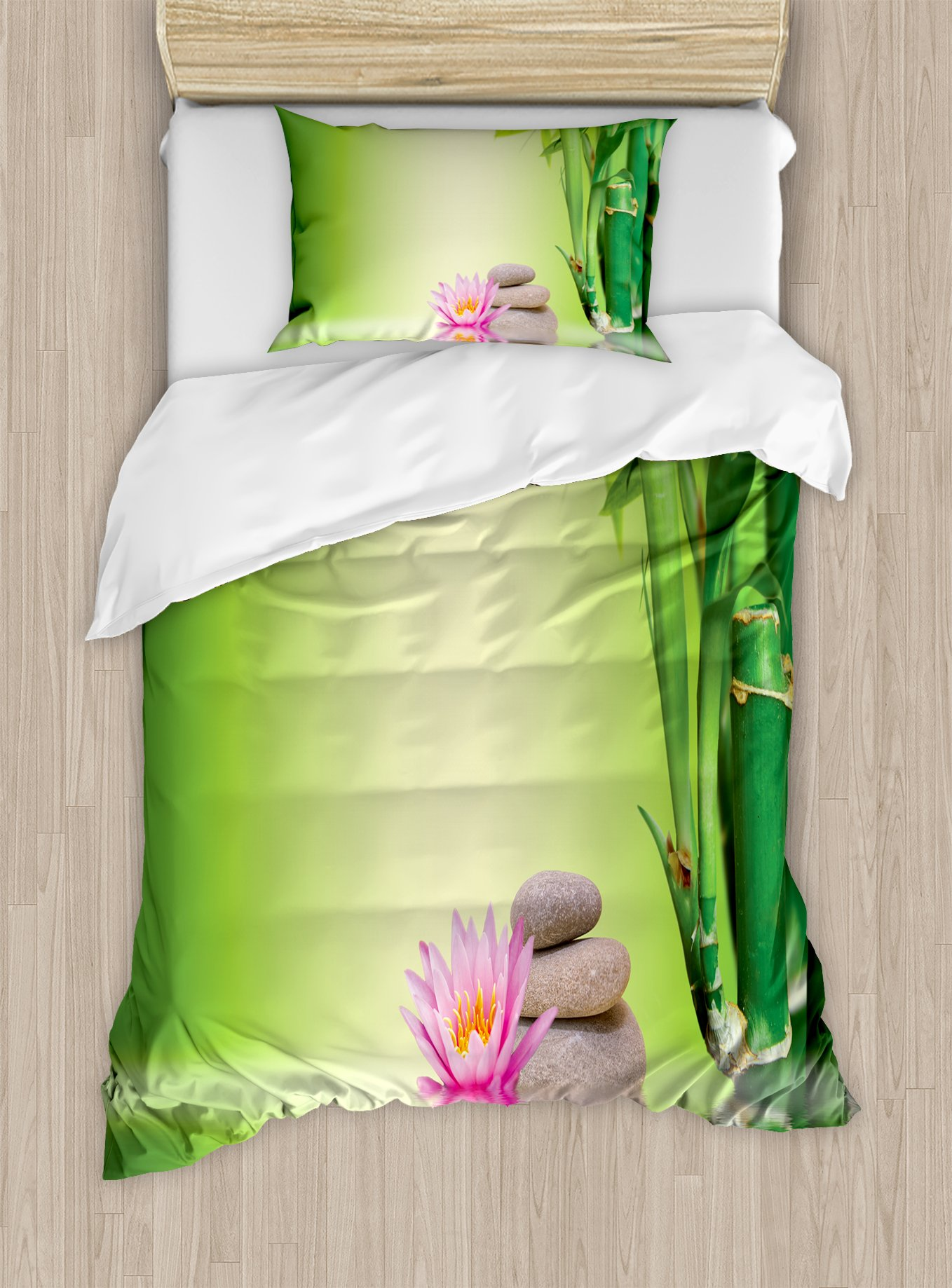 Ambesonne Spa Duvet Cover Set Twin Size, Zen Garden Asian Self-Control Freshening Insight in Daily Life Mindful Activity Print, Decorative 2 Piece Bedding Set with 1 Pillow Sham, Green Pink