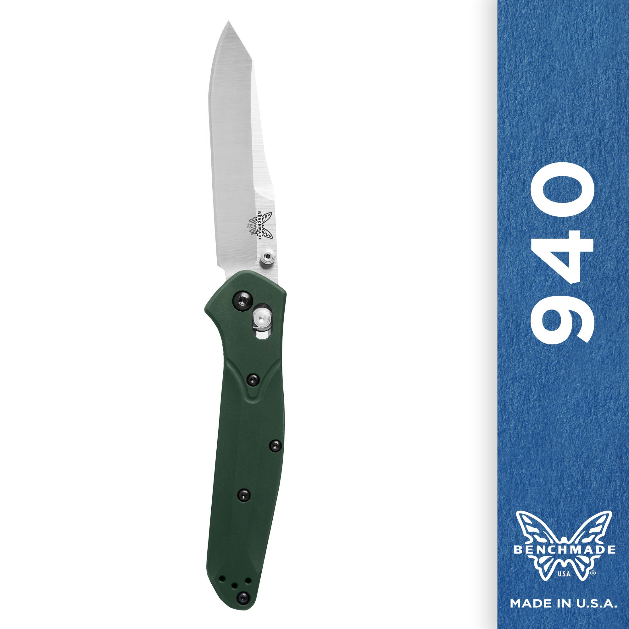 Benchmade Knife 940 Plain Satin Blade Green Handle by Benchmade