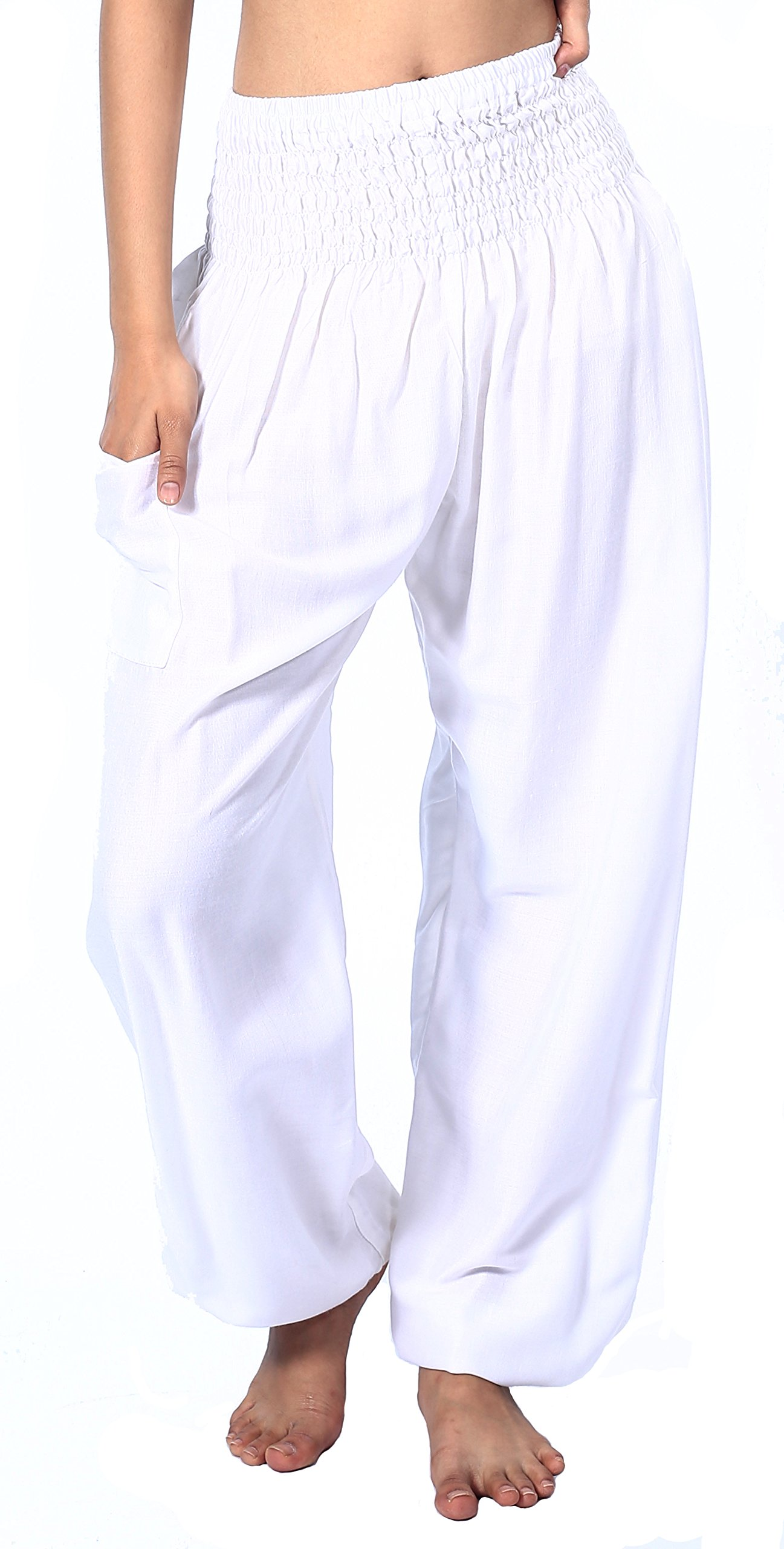Boho Vib Women's Rayon Print Smocked Waist Boho Harem Yoga Pants (Small/Medium, Solid White)