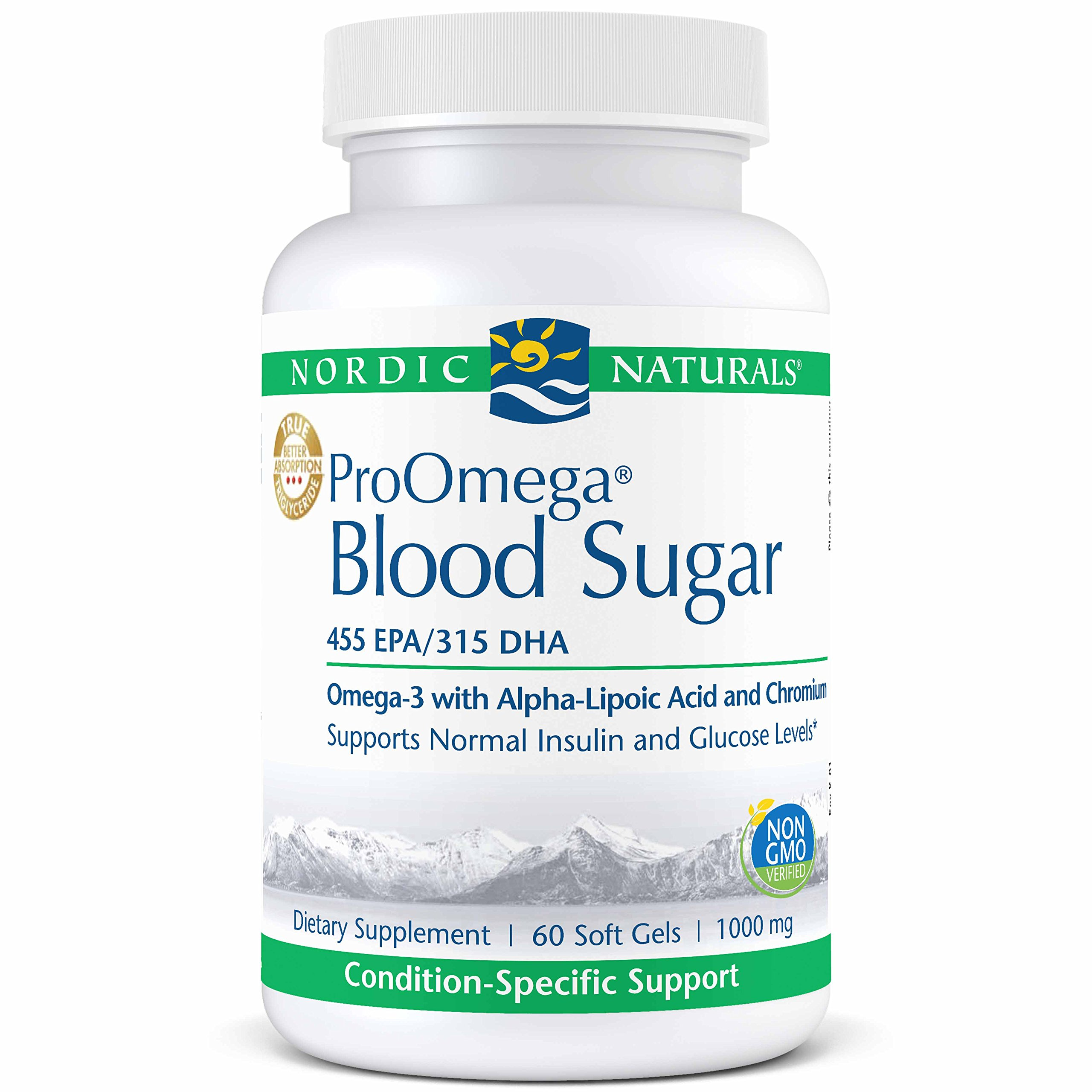 Nordic Naturals ProOmega Blood Sugar - Fish Oil, 455 mg EPA, 315 mg DHA, 200 UG Chromium, 300 mg Alpha-Lipoic Acid, Supports Normal Insulin and Glucose Levels*, 60 Soft Gels