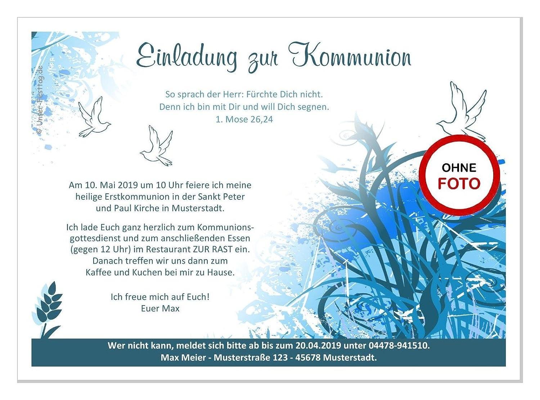 10 St/ück lustig und originell mit Foto Ma/ße DIN A5 Einladungskarten f/ür Kommunion Kind Jungen Text /ändern auch ohne