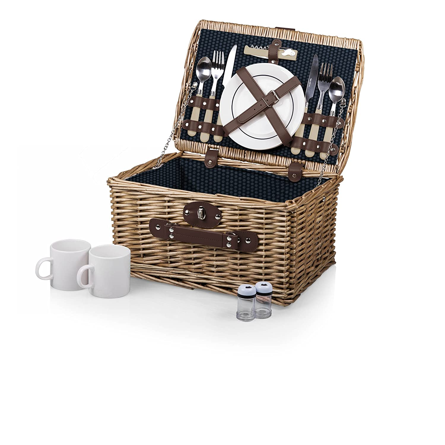 Picnic Time Catalina English Style Picnic Basket with Service for Two,  Dahlia Collection