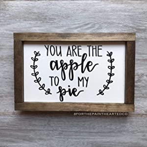 EricauBird Wall Art You are The Apple to My Pie | Framed Wooden Sign | Fall Decor Wood Plaque, Custom Gift