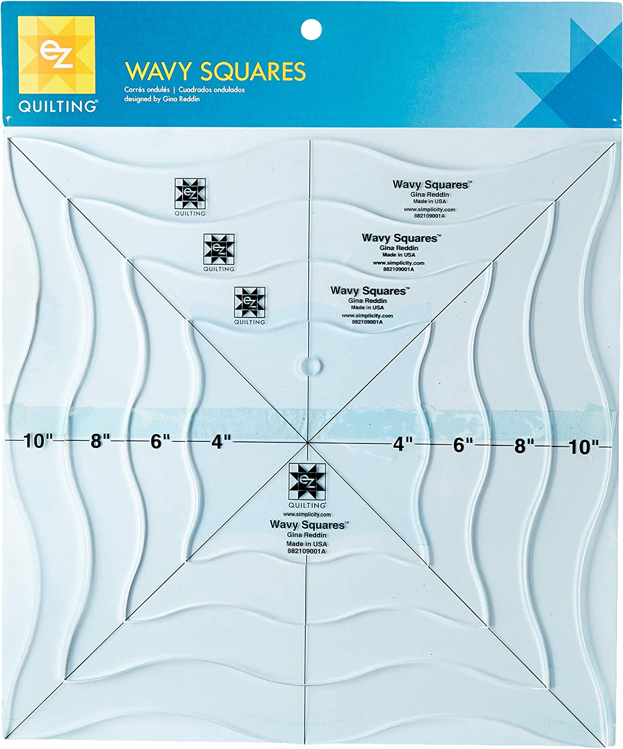 EZ Notions 109001A Ruler Wavy Squares Quilting Templates Tool Pack