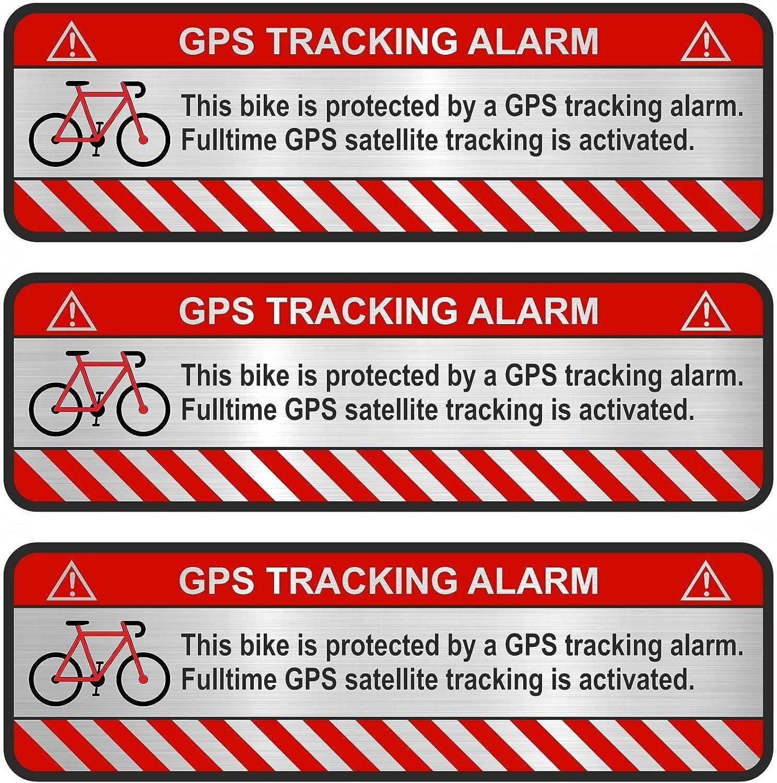 Finest Folia 3x Gps Aufkleber Fahrrad Motorrad Auto Alarm Warnung Anti Diebstahl Sticker Tracker Gesichert R055 Aluminium Schliff Silber Fahrrad Auto