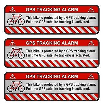 Finest Folia 3x Gps Aufkleber Fahrrad Motorrad Auto Alarm Warnung Anti Diebstahl Sticker Tracker Gesichert Aluminium Schliff Silber Fahrrad