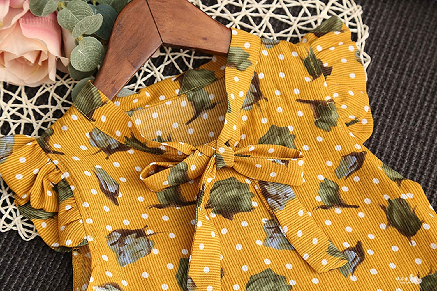 Short Summer Cool Outfit Set Newborn Baby Girl Floral Printed Clothes Set Infant Sleeveless Top