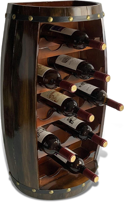 CoTa Global Alexander Wall Mounted Wine Rack - 18 Wine Bottles Freestanding Wooden Barrel Wine Holder, Hanging Bottle Rack or Floor Stand, Rustic Wine Storage Shelf Organizer for Wine Bar & Home Decor