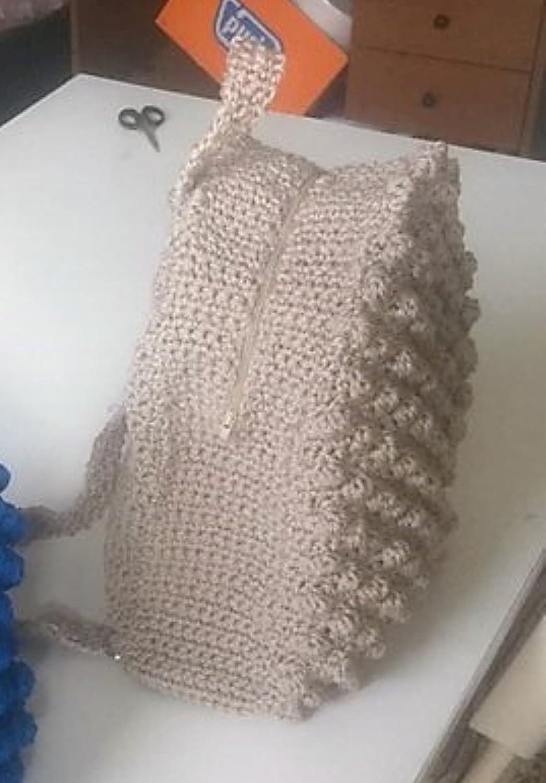 Girl's Crochet Backpack Beige Color Polypropylene Cordon Zipper Bags&Purses