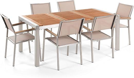 Beliani Conjunto de jardín Mesa en Madera de Caoba 180 cm, 6 sillas Beige GROSSETO: Beliani: Amazon.es: Hogar