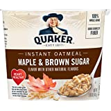 Quaker Instant Oatmeal Cups, Maple & Brown Sugar, 1.9oz Cup, 12 Ct