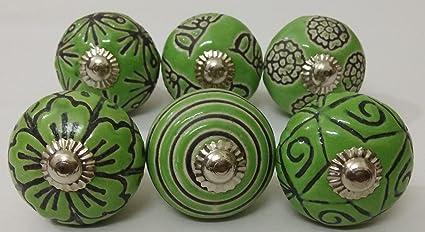 6 Vintage Look Ceramic Knobs Zoya S Hand Carved Ceramic Knobs