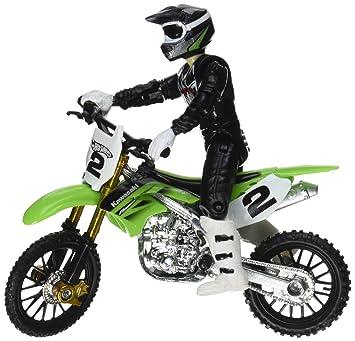 Hot Wheels Moto X No 2 Rider And Green Bike Figure